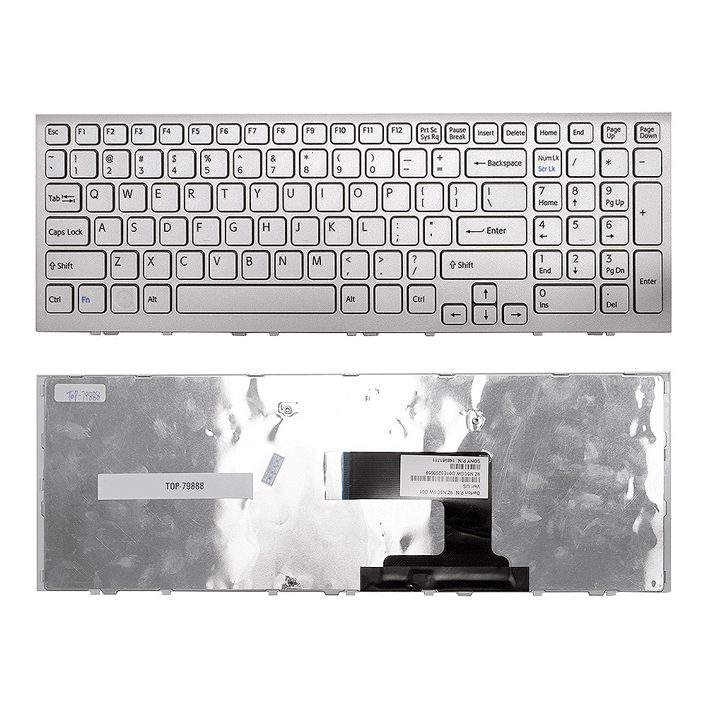 Клавиатура для ноутбука Sony Vaio VPC-EL Series. Белая, с рамкой. Не русифицированная.