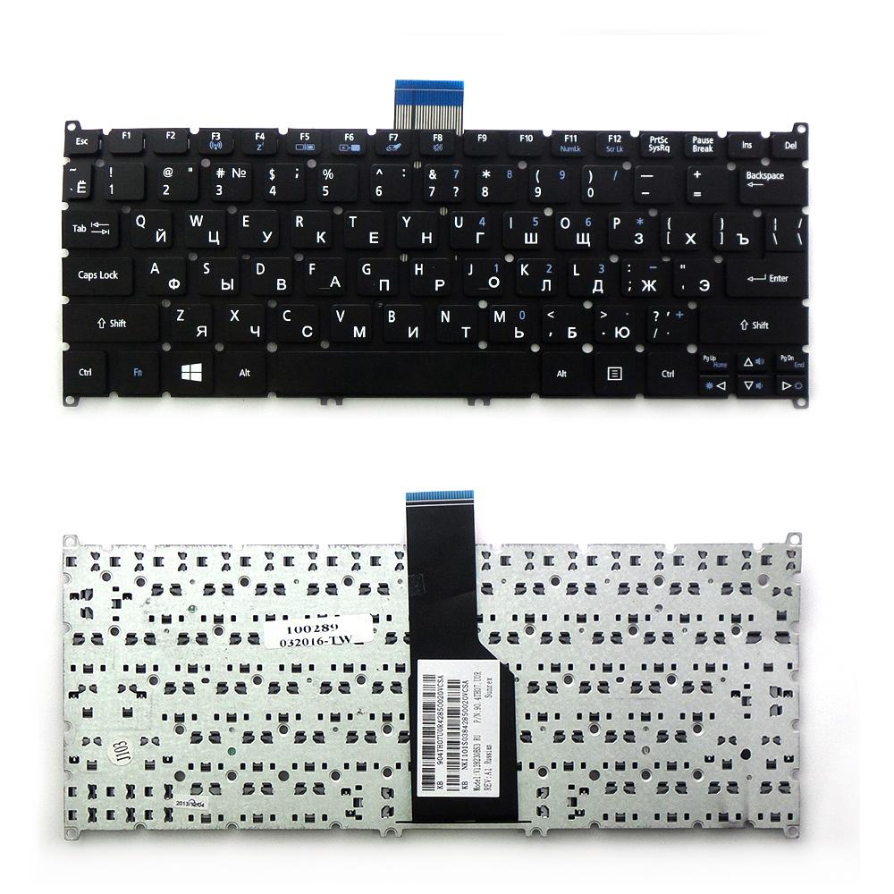 Клавиатура для ноутбука Acer Aspire S3, S5, S3-391, S3-951, S5-391 Series. Г-образный Enter. Черная, без рамки. PN: 9Z.N7WPW.20R, 90.4BT07.A0R.
