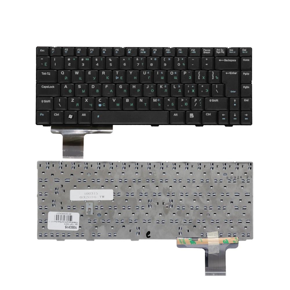 Клавиатура для ноутбука Asus V1, V1A, V1J, Lamborghini VX2, VX2S, VX2SE Series. Г-образный Enter. Черная, без рамки. PN: K020662R1, 04GNAA1KRUS4.