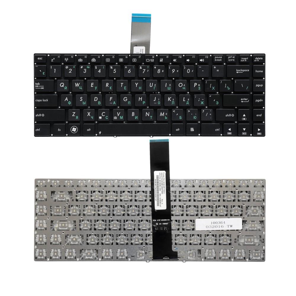 Клавиатура для ноутбука Asus N46, U37, U47 Series. Плоский Enter. Черная, без рамки. PN: 9Z.N8ABQ.G01, 13GN8E1AM030-1.