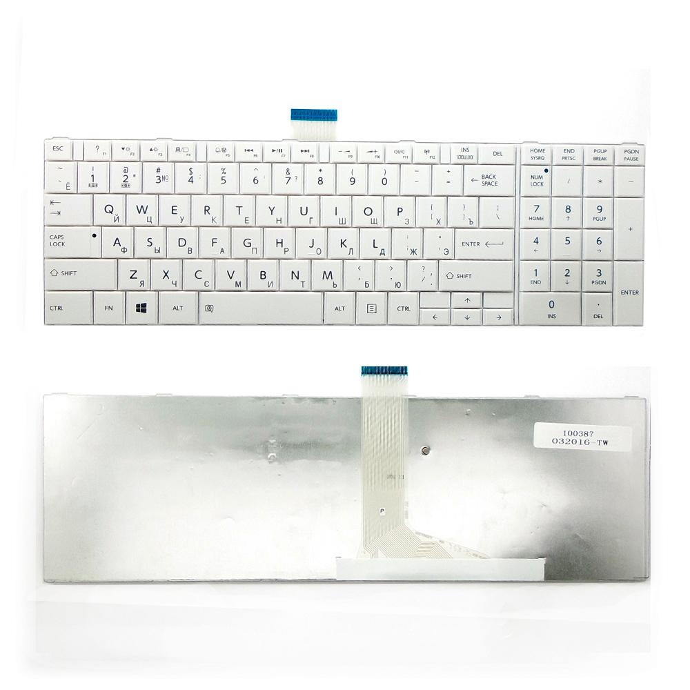 Клавиатура для ноутбука Toshiba C50, L50, C850, P870 Series. Плоский Enter. Белая, без рамки. PN: MP-11B96SU-528, NSK-TT0SU 0R.