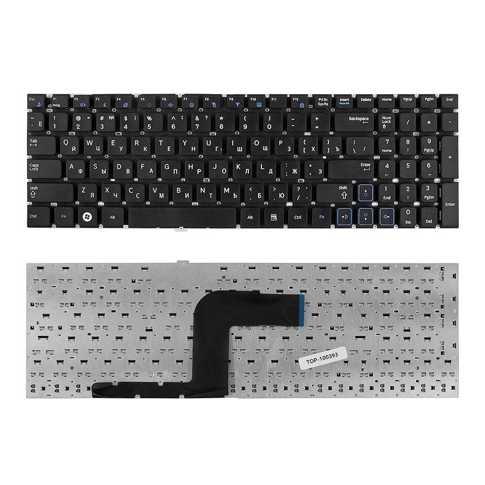 Клавиатура для ноутбука Samsung RC510, RC520, RV509, RV511, RV513, RV515, RV518, RV520 Series. Плоский Enter. Черная, без рамки. PN: BA59-02927C.