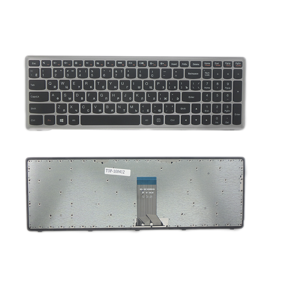 Клавиатура для ноутбука Lenovo IdeaPad U510, Z710 Series. Плоский Enter. Черная. С серебристой рамкой. PN: 0KN0-B52RU13, 0KN0-B61RU13.