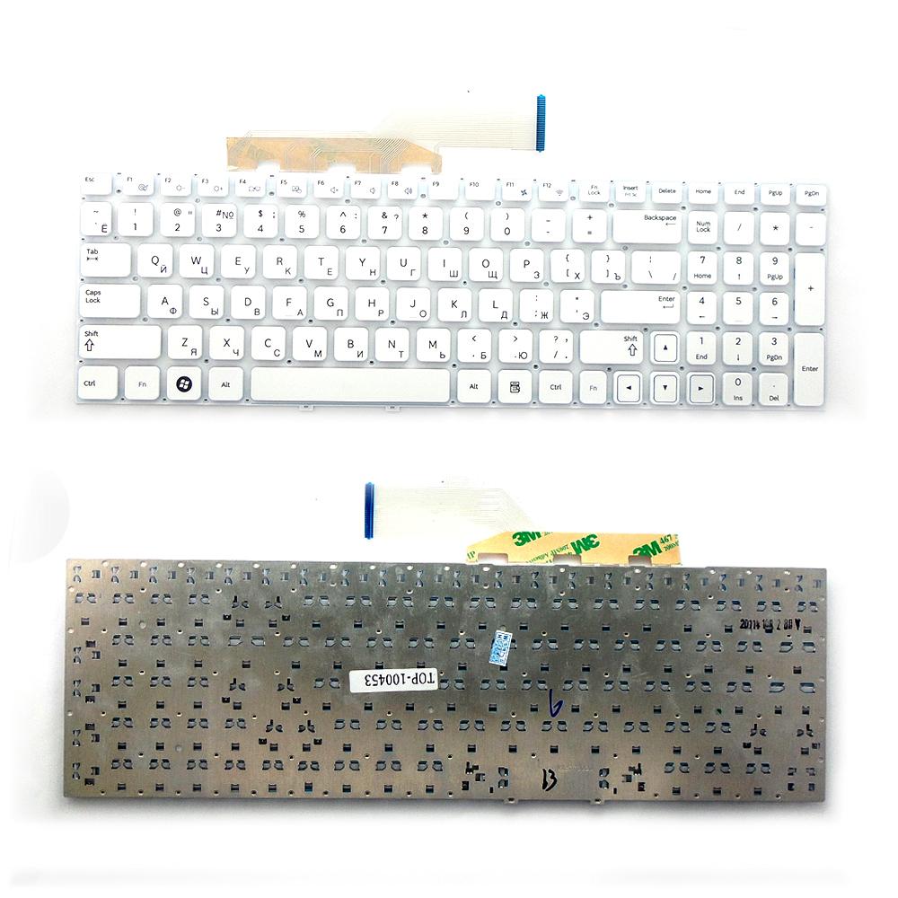 Клавиатура для ноутбука Samsung NP-300E5A, NP-300E5C, NP300E5C, NP-300V5A Series. Плоский Enter. Белая, без рамки. PN: 9Z.N5QSN.10R, BA5903075.