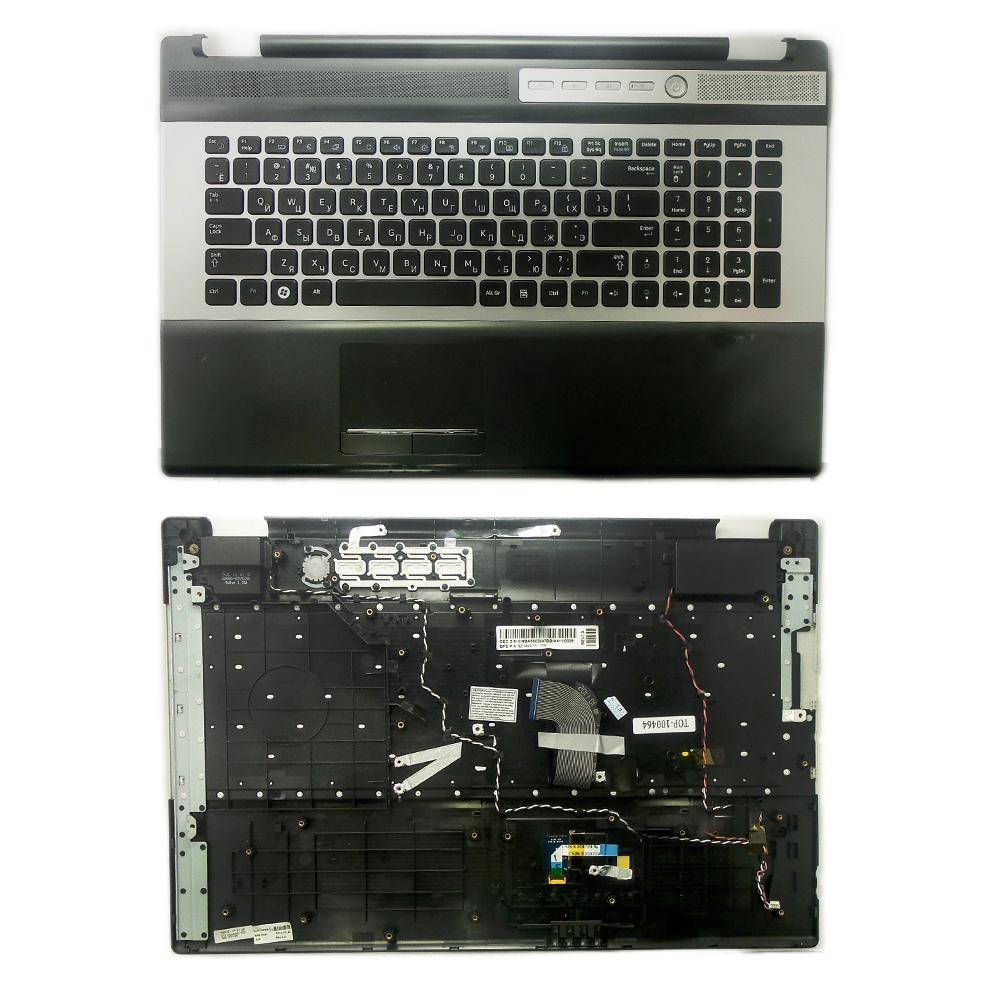 Клавиатура для ноутбука Samsung RC730, NP-RC730-S01RU Series. Плоский Enter. Черная, c topcase. PN: 9Z.N6ASN.00R.