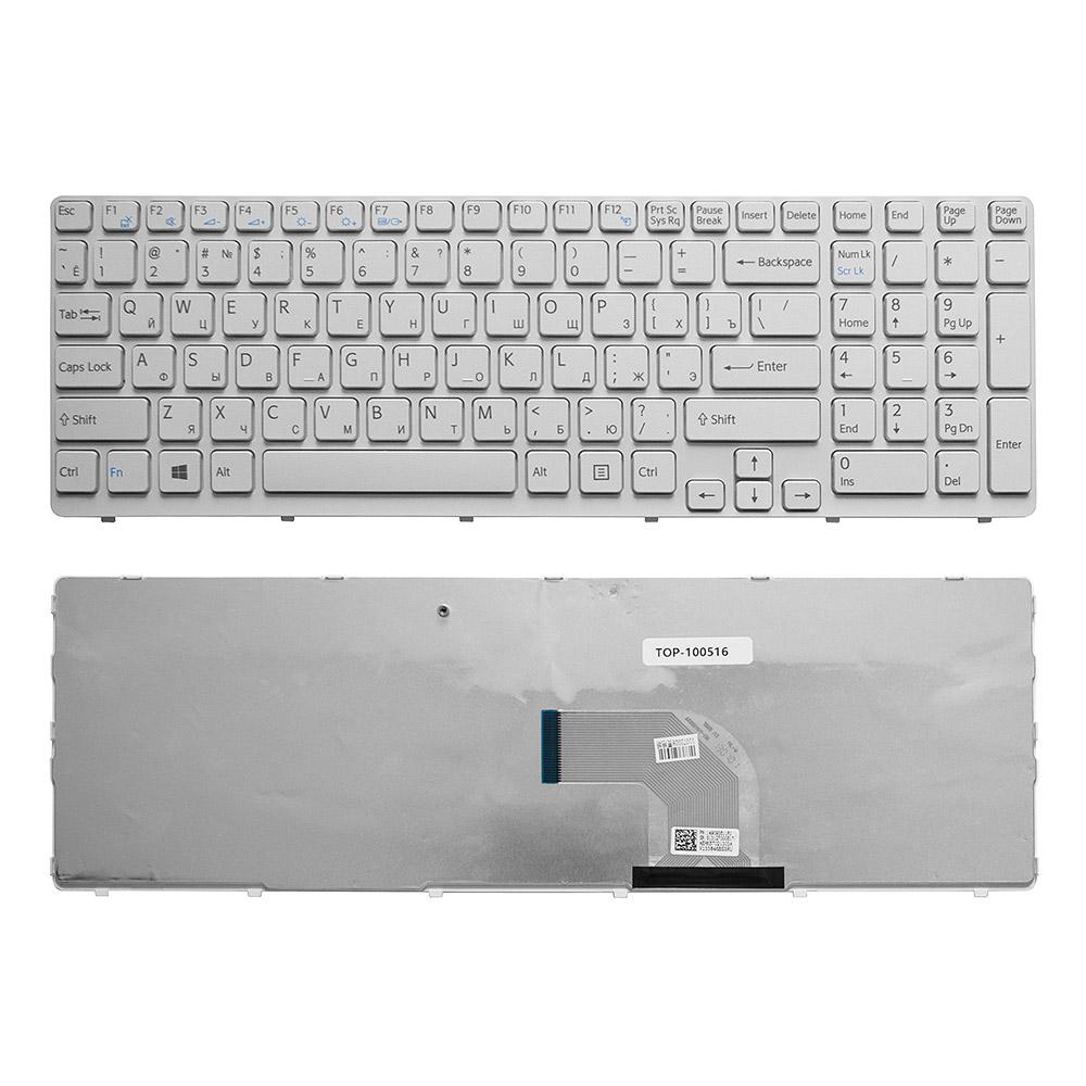 Клавиатура для ноутбука Sony Vaio E15, E17, SVE15, SVE17, SVE151 Series. Плоский Enter. Белая, с белой рамкой. PN: 149032851RU, 9Z.N6CSW.K0
