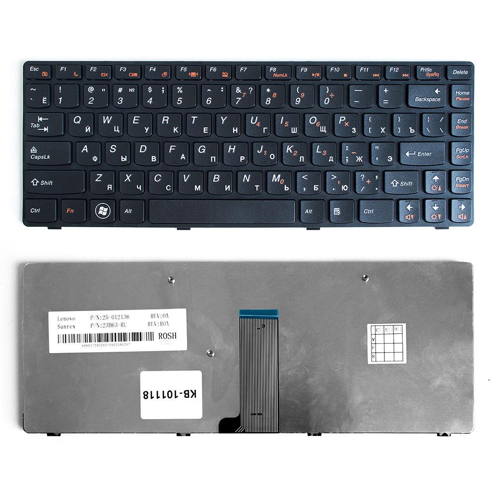 Клавиатура для ноутбука Lenovo IdeaPad B480, G480, Z380, Z480 Series. Плоский Enter. Черная, с черной рамкой. PN: 25202118, 9Z.N5TSQ.T0R.