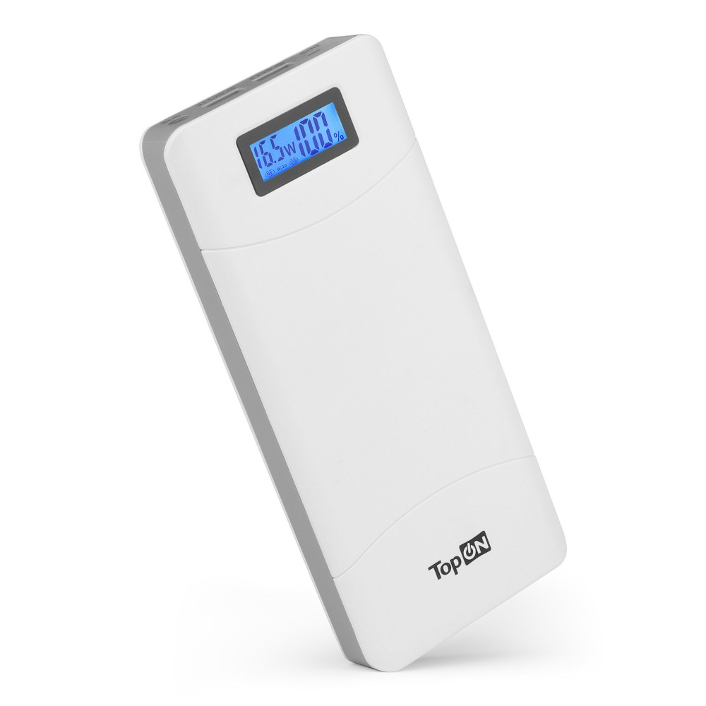 Внешний аккумулятор TopON TOP-T72/W 18000mAh (66.6Wh) QC 2.0, 2 USB для ноутбука, планшета, смартфона и аккумулятора авто. Белый