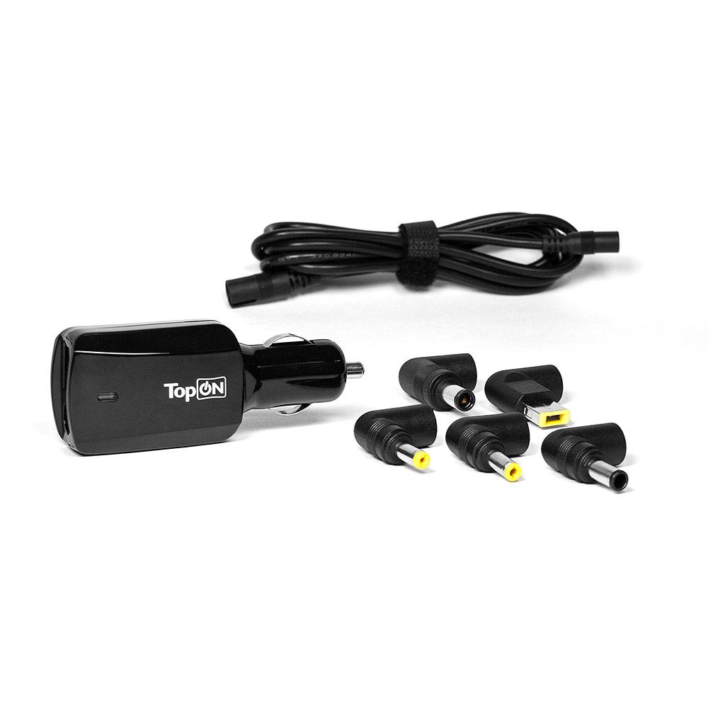 Купить оптом Автоадаптер TopON 90W универсальный 16V-20V 4.5A (5 коннекторов) с USB кабель 1.5м  TOP-U90WCC