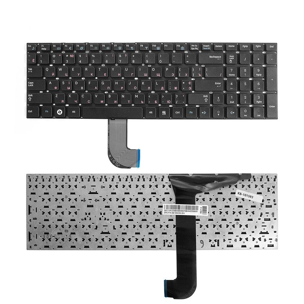 Клавиатура для ноутбука Samsung RF710, RF711, RC730, RC728, NP-RF711 Series. Плоский Enter. Черная, без рамки. PN: 9Z.N6ASN, CNBA5903058CBIH.