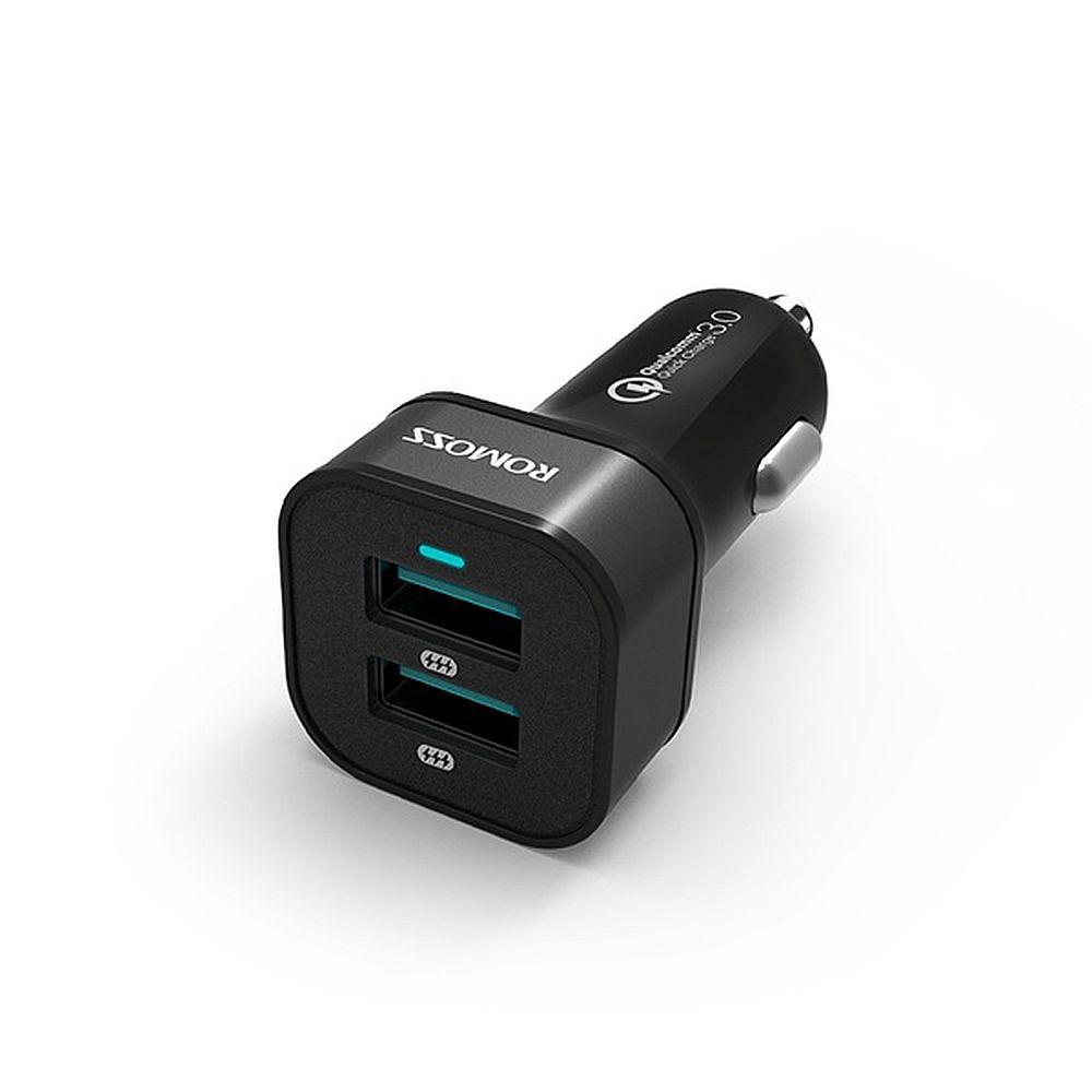 Купить оптом Универсальная автомобильная зарядка ROMOSS AU36P 36W с 2 USB-портами с функцией быстрой зарядки QC 3.0. Черная.