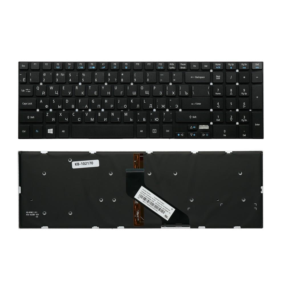 Клавиатура для ноутбука Acer Aspire 5755, 5830T, V3-551, V3-771 Series. Г-образный Enter. Черная, без рамки. С подсветкой. PN: MP-10K33SU-698.