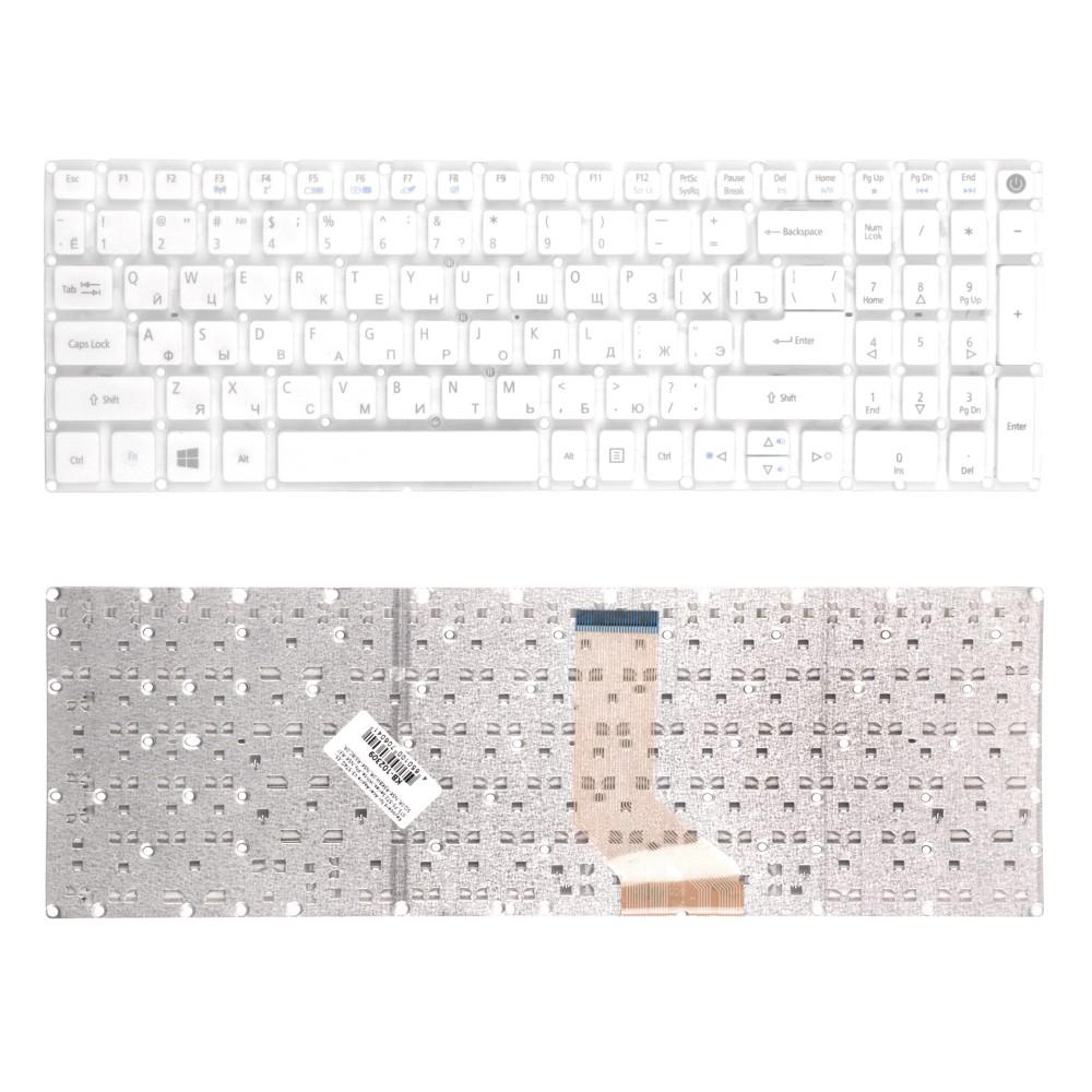Клавиатура для ноутбука Acer Aspire V3-574G, E5-573, F5-572 Series. Г-образный Enter. Белая, без рамки. PN: NSK-R37SQ 0R, NSK-R3KBW 0R, NSK-R3JBC 0R.