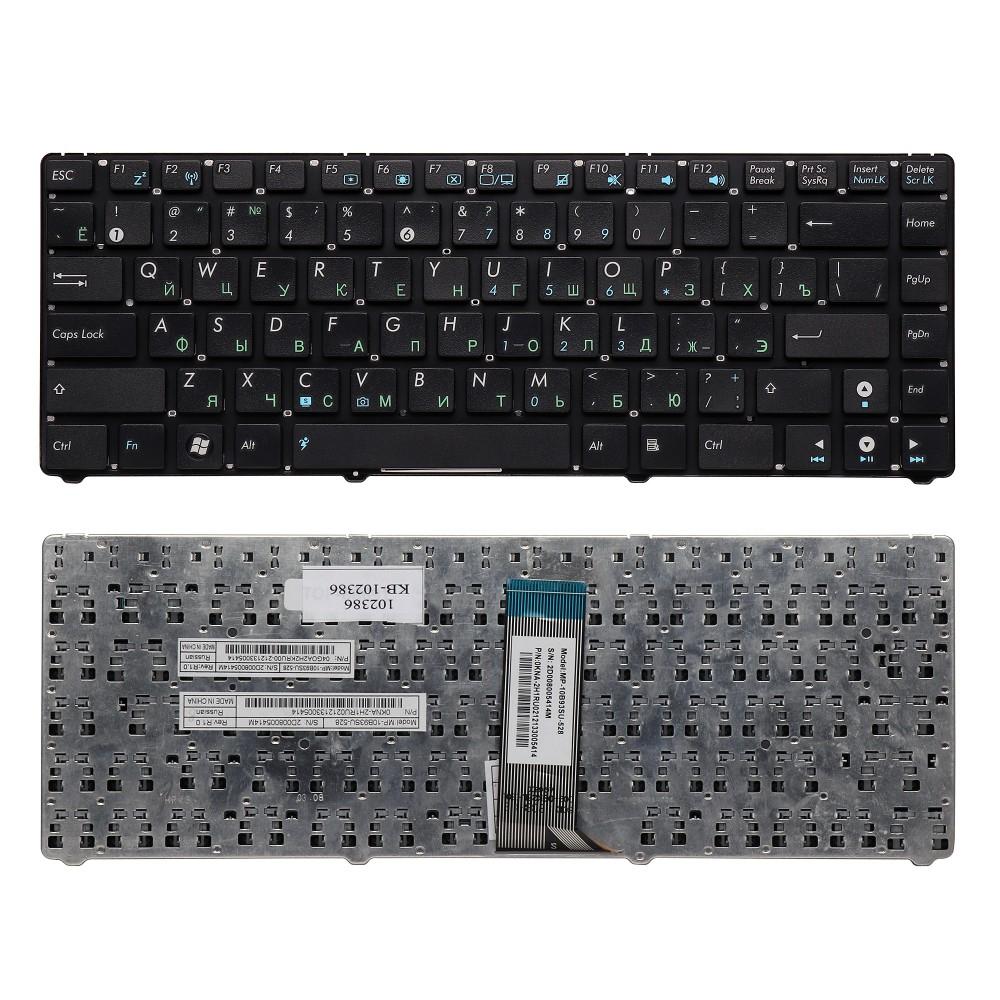Клавиатура для ноутбука Asus UL20, Eee PC 1201, 1215, 1225 Series . Плоский Enter. Черная. Без рамки. PN: 9J.N2K82.90R, NSK-UJA0R.