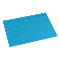 Коврик силиконовый термостойкий 35х25 см для ремонта и пайки электронных компонентов и микросхем. 132 секции, линейка. Цвет синий