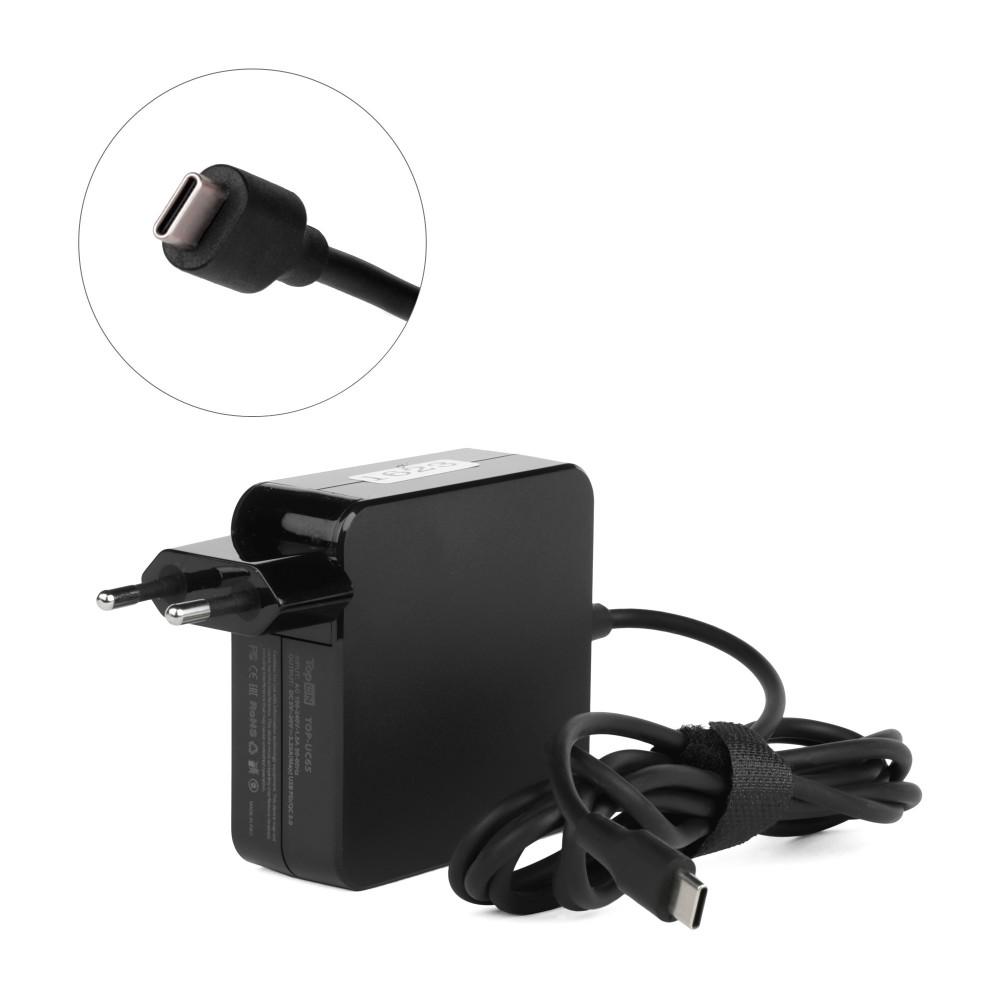 Купить оптом Блок питания TopON 65W кабель Type-C, Power Delivery, Quick Charge 3.0 в розетку, черный.