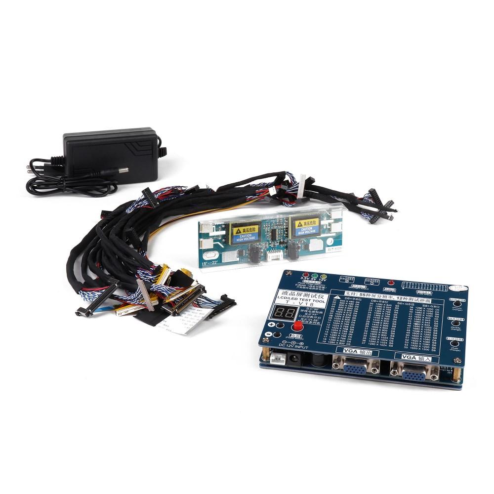 Купить оптом Полнофункциональный тестер для диагностики матриц и LCD-панелей, 2 VGA, 14 переходников, инвертор, блок питания