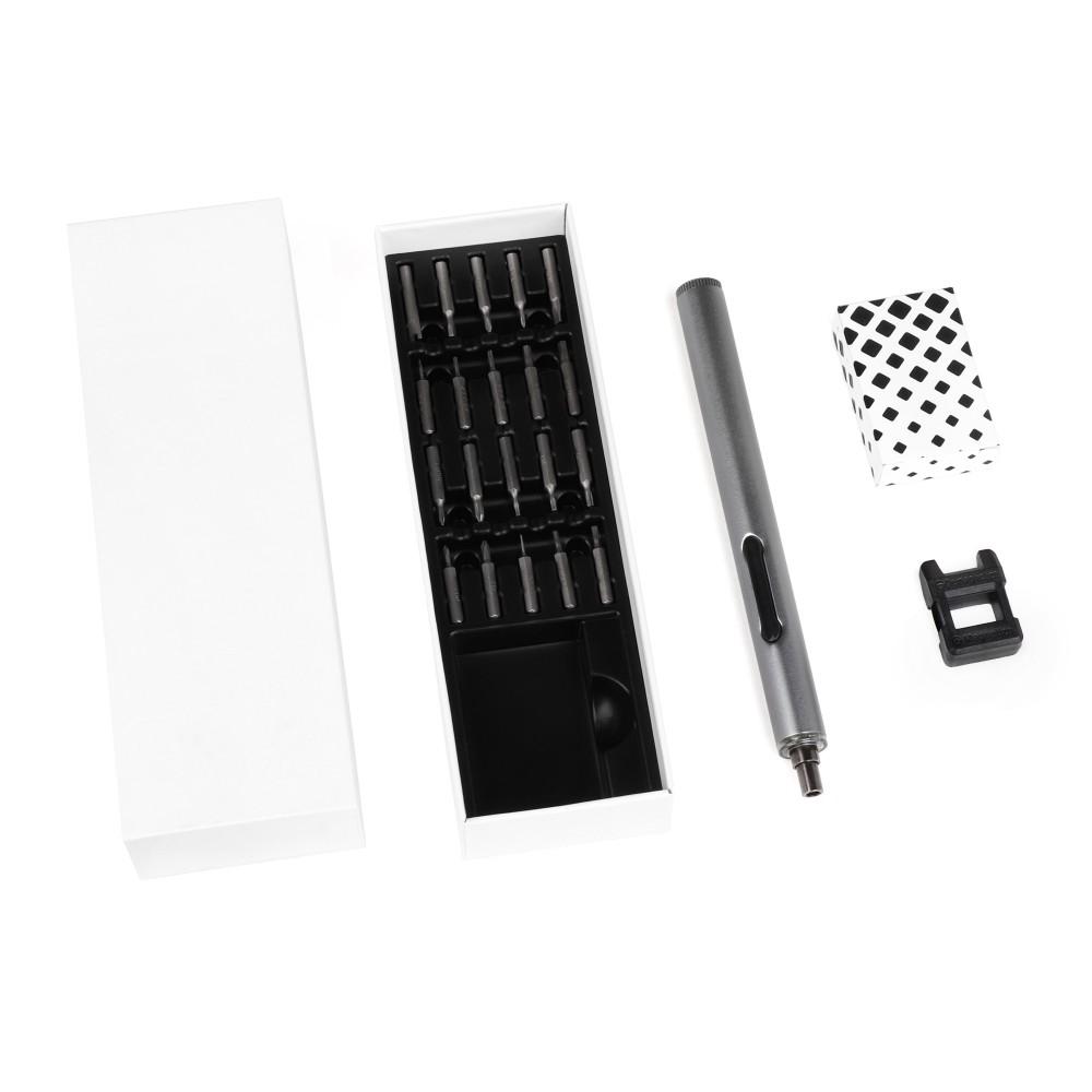 Купить оптом Электрическая отвертка IQ-Screw для точных работ, алюминиевый корпус, круговая подсветка, 20 бит, магнетизатор