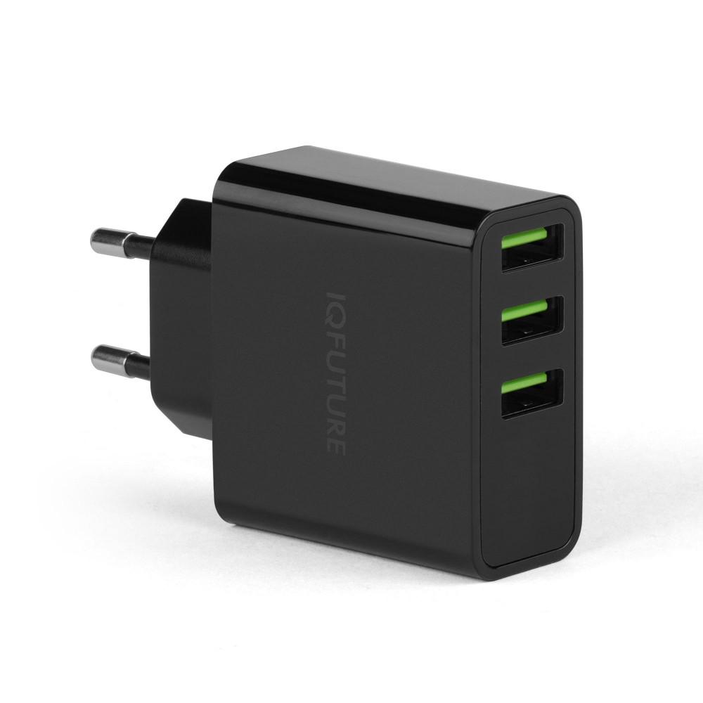 Купить оптом Сетевая зарядка IQFuture IQ-TA35 на 3 USB, LED-экран. Черный