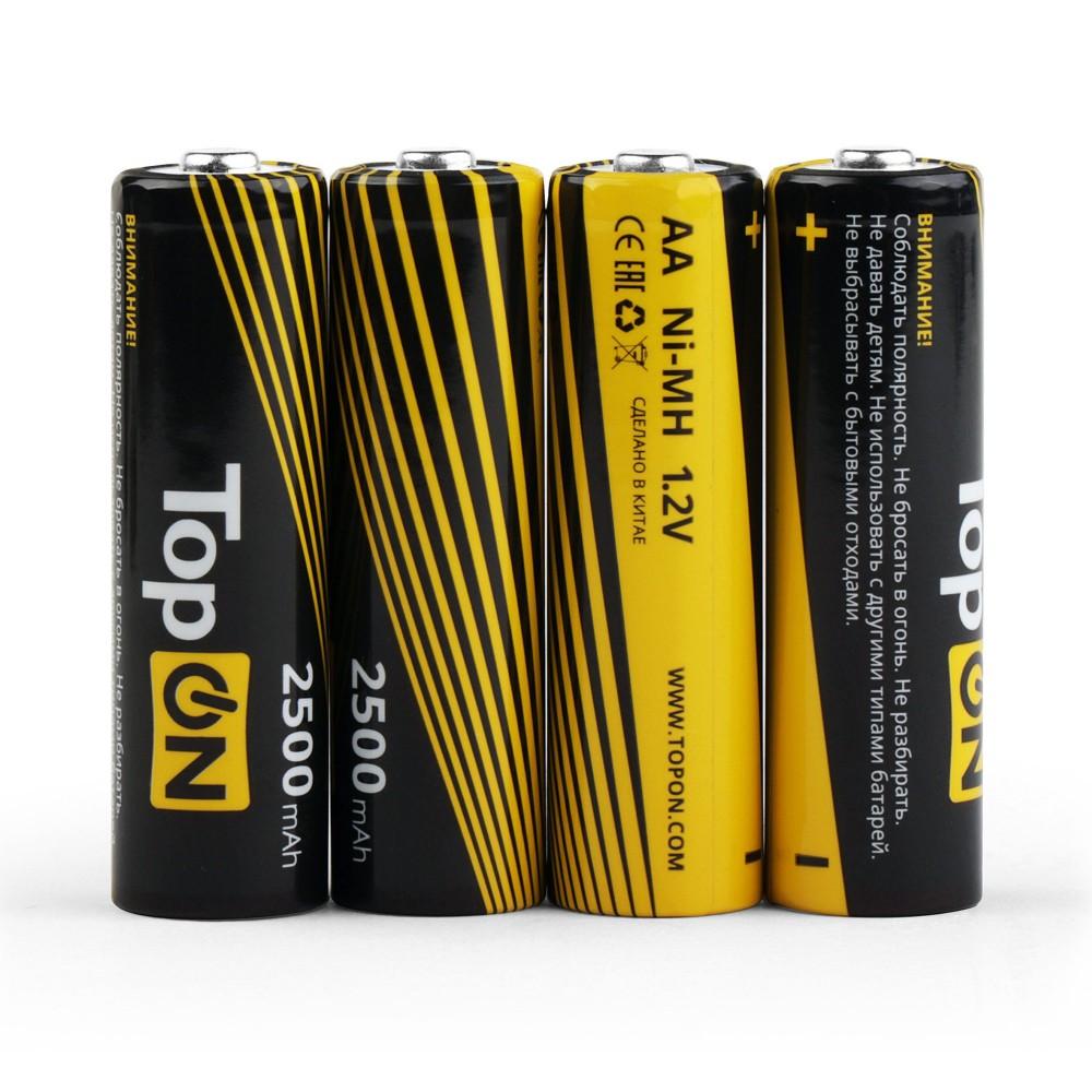 Купить оптом Аккумуляторные батарейки AA TopON TOP-NH-AA-2500-4B 2500mAh 1.2V Ni-MH HR6 4 шт в боксе