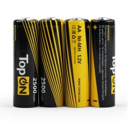 Аккумуляторные батарейки AA TopON TOP-NH-AA-2500-4B 2500mAh 1.2V Ni-MH HR6 4 шт в боксе