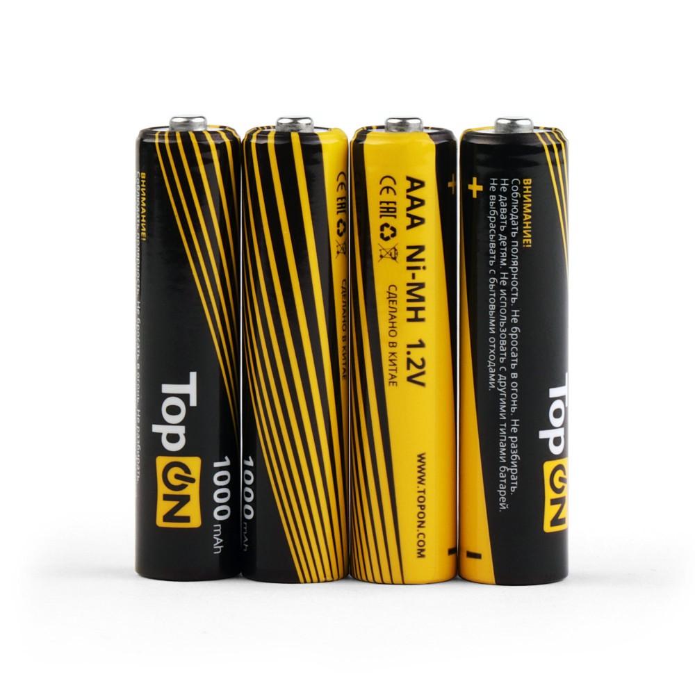 Купить оптом Аккумуляторные батарейки AAA TopON TOP-NH-AAA-1000-4B 1000mAh 1.2V Ni-MH HR03 4 шт в боксе