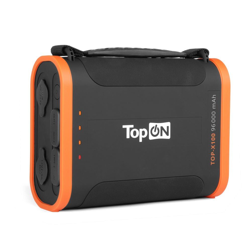 Купить оптом Внешний аккумулятор TopON TOP-X100 96000mAh USB Type-C PD 60W, USB1 QC3.0, USB2 12W, 2 авторозетки 180W, фонарь, защита от брызг, LiFePO4. Черный