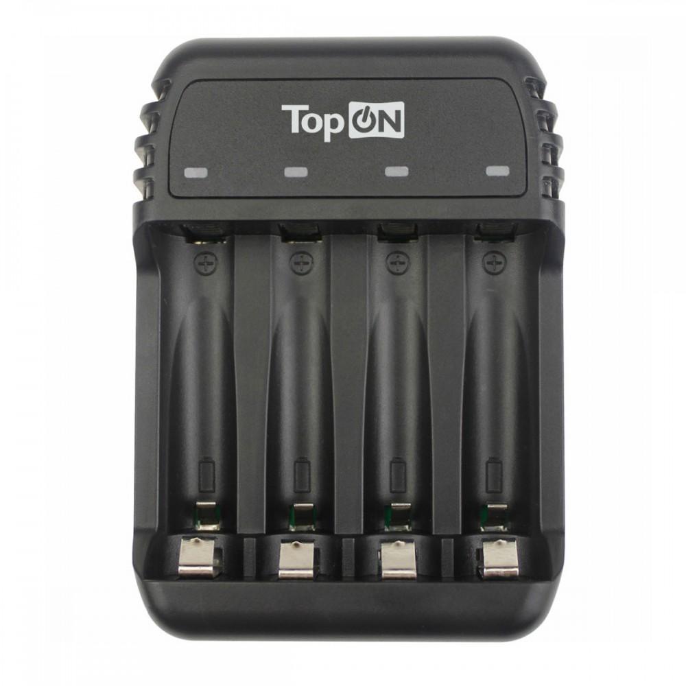Купить оптом Зарядное устройство TopON для 1-4 аккумуляторов типа AA/AAA Ni-MH и Ni-Cd, LED индикатор, MicroUSB 5V, черное TOP-CH500