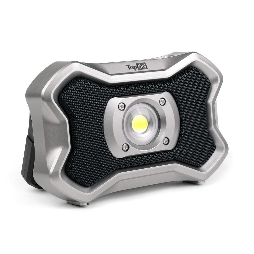 Купить оптом Аккумуляторный фонарь TopON TOP-MX2BT LED 20 Вт 2000 лм 7.3 В 4.0 Ач 29.2 Втч Bluetooth колонка