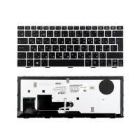 Клавиатура для ноутбука HP Elitebook Revolve 810 G1 Series. Г-образный Enter. Черная, с серебристой рамкой. С подсветкой. PN: SG-57700-2FA.
