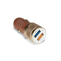 Автозарядка IDMIX C06S 18W на 2 USB-порта с функцией быстрой зарядки Qualcomm QC 3.0. Розовое золото.