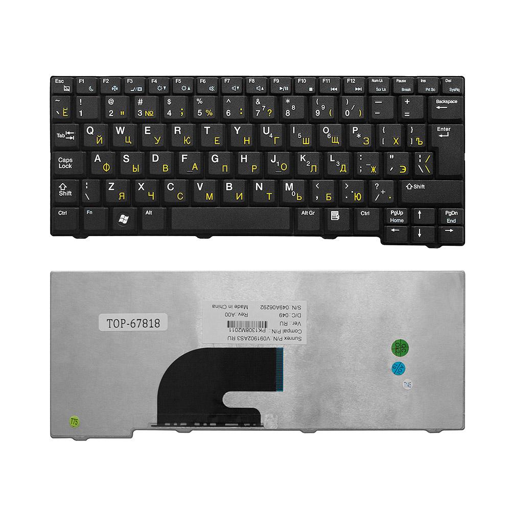 Клавиатура для ноутбука Acer Aspire One 531, A110, A150, D150, D210, ZG5 Series. Г-образный Enter. Черная без рамки. PN: 9J.N9482.00R, KB.INT00.513.