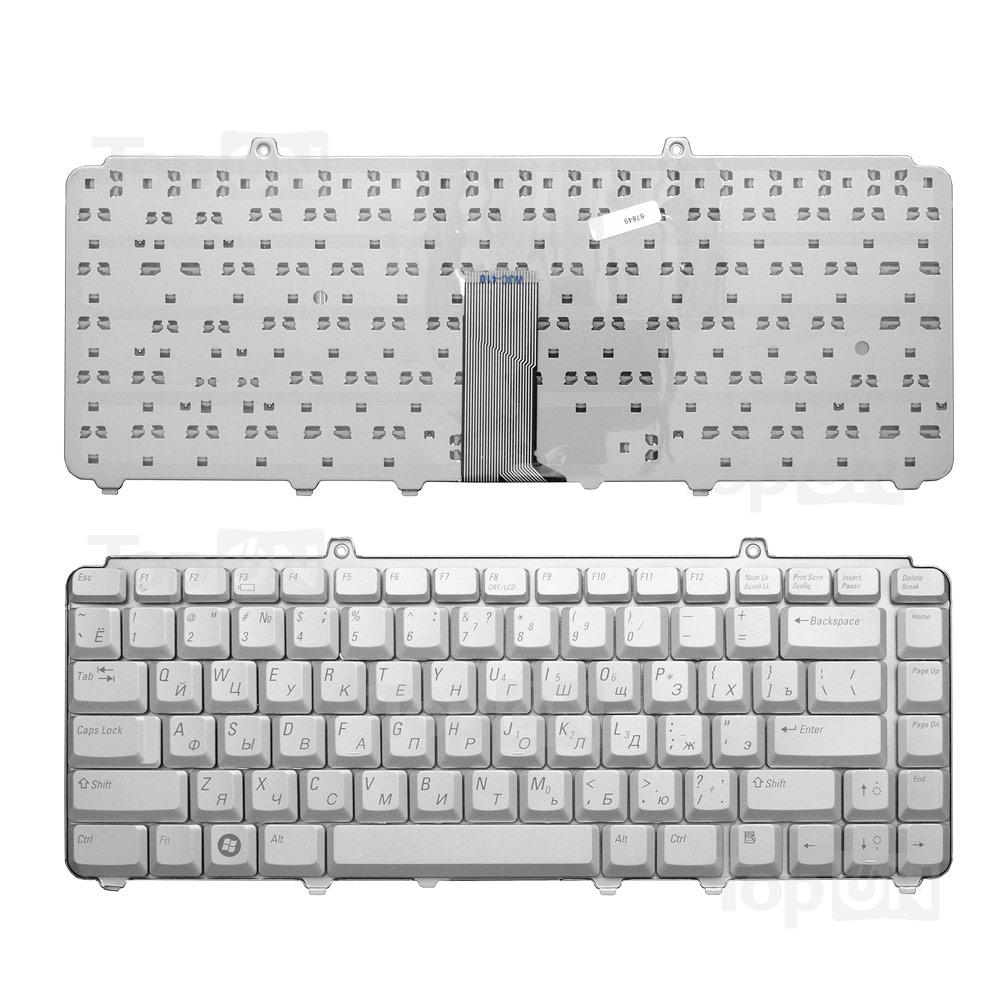 Клавиатура для ноутбука Dell Inspiron 1318, 1420, 1520, 1521, Vostro 500 Series. Плоский Enter. Серебристая, без рамки. PN: NSK-D9201 0JM629.