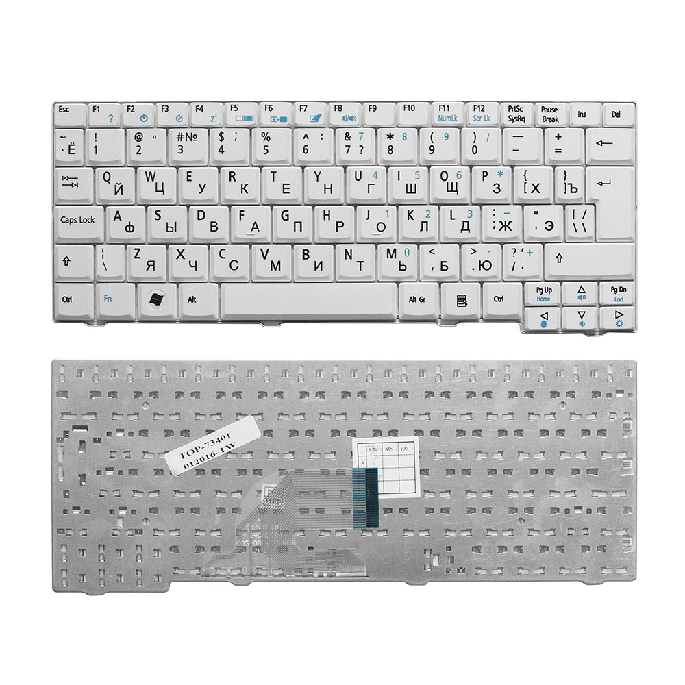 Клавиатура для ноутбука Acer Aspire One 531, A110, A150, D150, D210, ZG5 Series. Г-образный Enter. Белая, без рамки. PN: 9J.N9482.00R, KB.INT00.513.