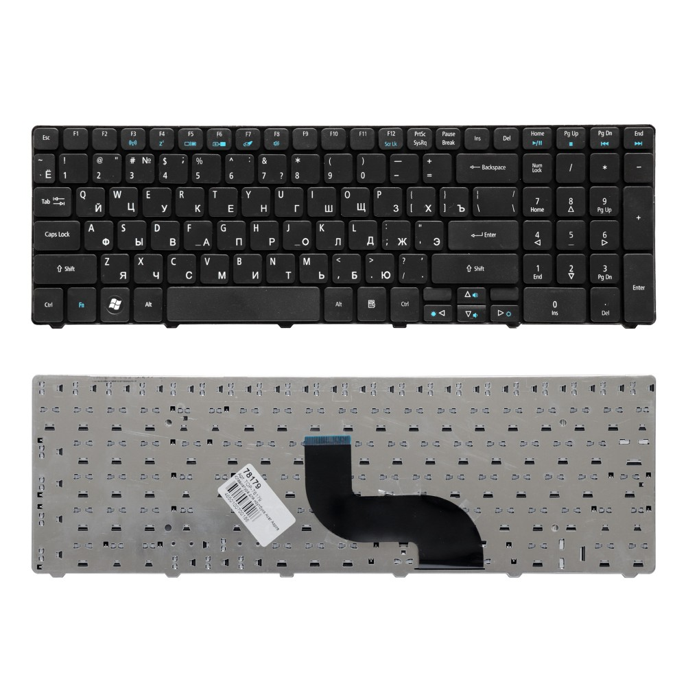 Клавиатура для ноутбука Acer Aspire 5810, 5810T, 5410T, 5820TG, 5536, 5738, 5739, 5551 Series. Плоский Enter. Черная, с рамкой. PN: NSK-AL10R.