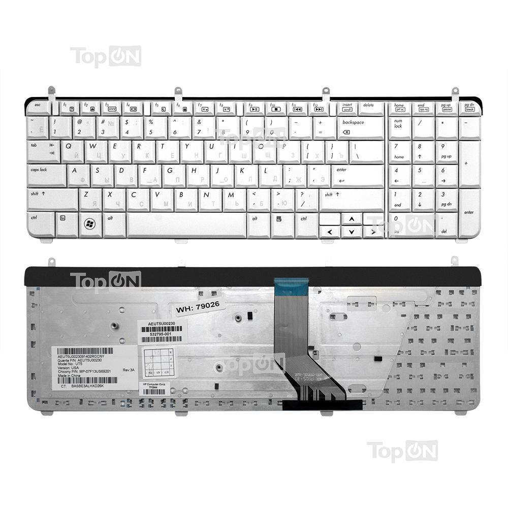 Клавиатура для ноутбука HP Pavilion DV7-2000 DV7-2100 DV7-2200 DV7-3000 Series. Бело-серебристая.