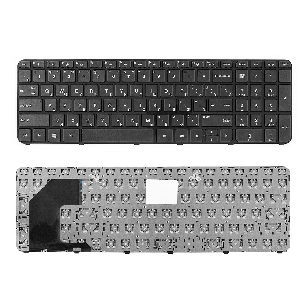 Клавиатура для ноутбука HP Pavilion Envy 15-b, Sleekbook 15, TouchSmart 15-b100 Series. Плоский Enter. Черная, с черной рамкой. PN: 703915-251.