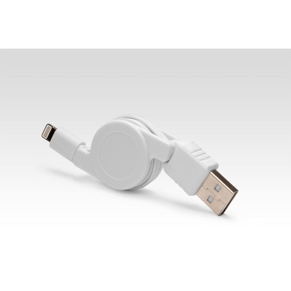 Купить оптом Выдвижной Lightning для подключения к USB Apple iPhone X, iPhone 8 Plus, iPhone 7 Plus, iPhone 6 Plus, iPad, iPod. Замена MD818ZM/A, MD819ZM/A. Белый.