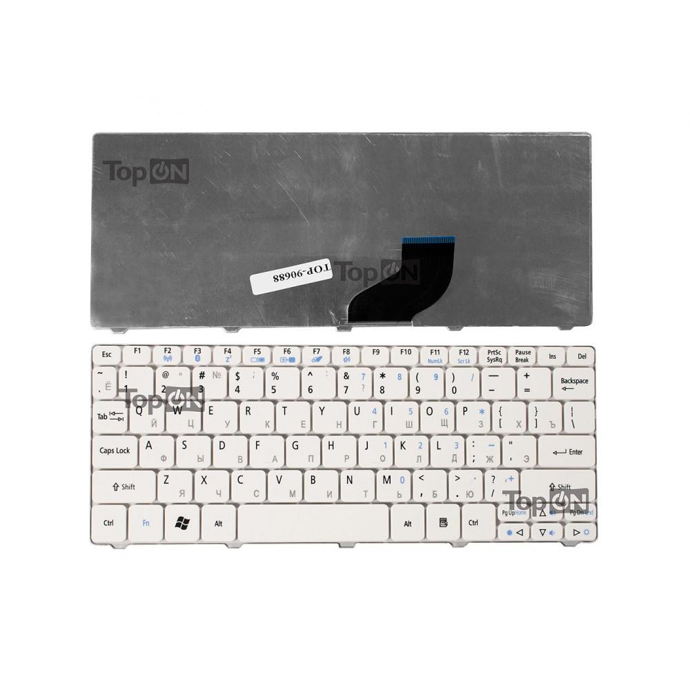 Клавиатура для ноутбука Acer Aspire One 521, 522, 532, D260, D270 Series. Плоский Enter. Белая, без рамки. PN: ZH9, 90.4GS07.C0R, 9Z.N3K82.A0R.