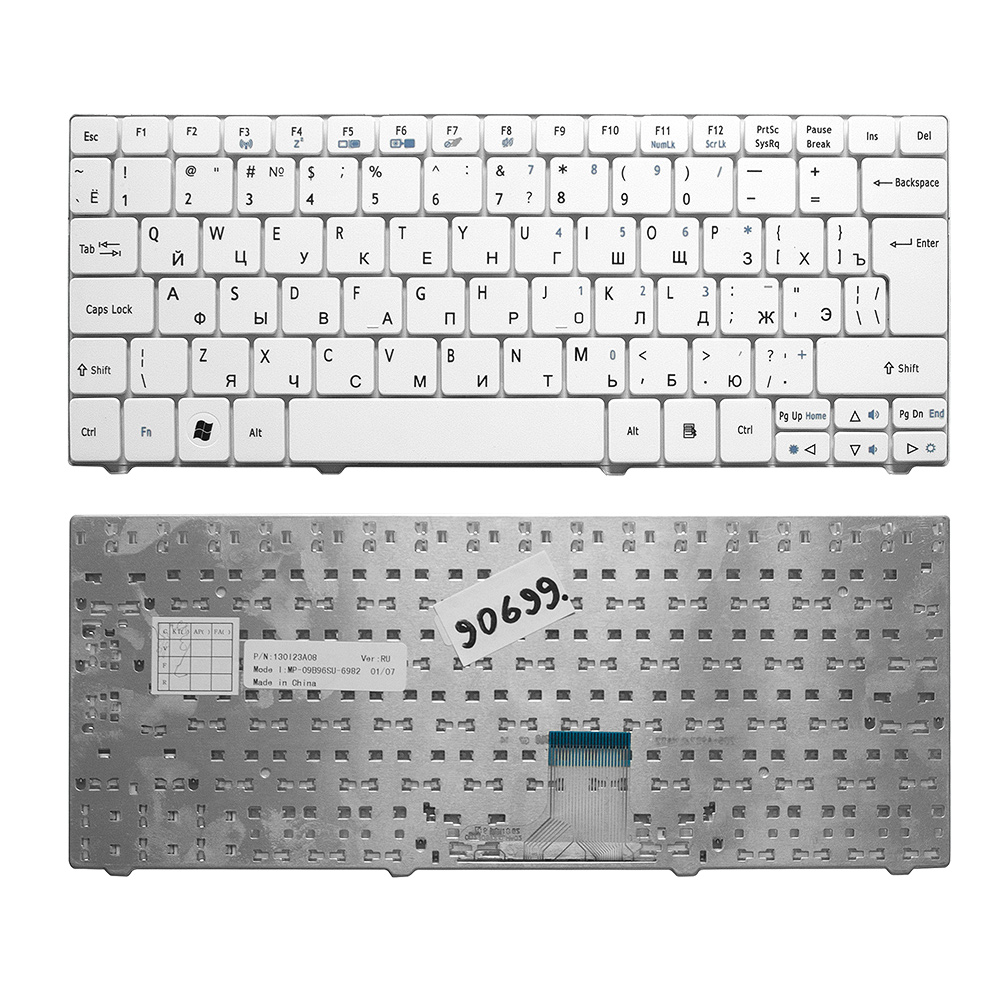 Купить оптом Клавиатура для ноутбука Acer 1810, 1830T, 721, 722, 751 Series. Г-образный Enter. Белая без рамки. PN: NSK-AQ00R.