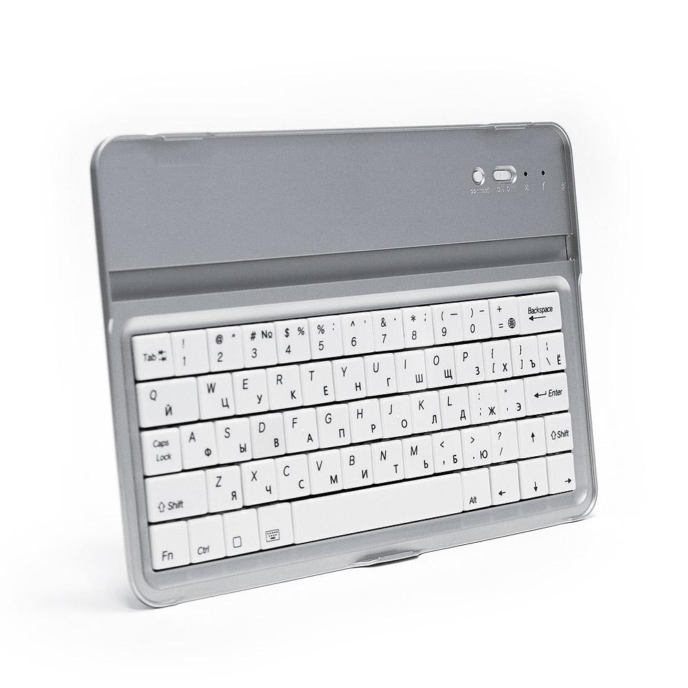 Купить оптом Беспроводная Bluetooth-клавиатура для Apple iPad Mini, iPod Touch и iPhone. Защита от влаги и пыли. До 55 часов непрерывной работы. Серебристая.