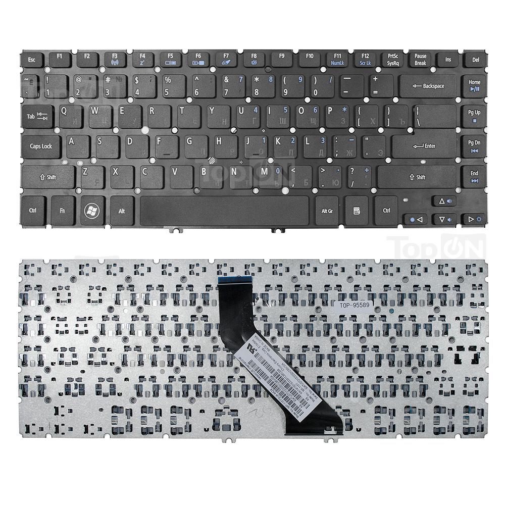 Клавиатура для ноутбука Acer Aspire V5-431, V5-471, M3-481, M5-481 Series. Г-образный Enter. Черная без рамки. PN: NSK-R24SW 0R, NSK-R25SW 0R.