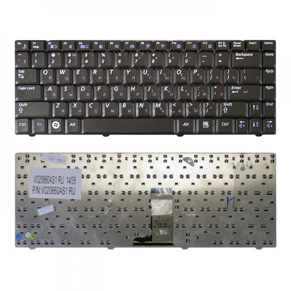 Клавиатура для ноутбука Samsung R517, R518, R519 Series. Плоский Enter. Черная, без рамки. PN: V020660AS1, BA59-02581D.