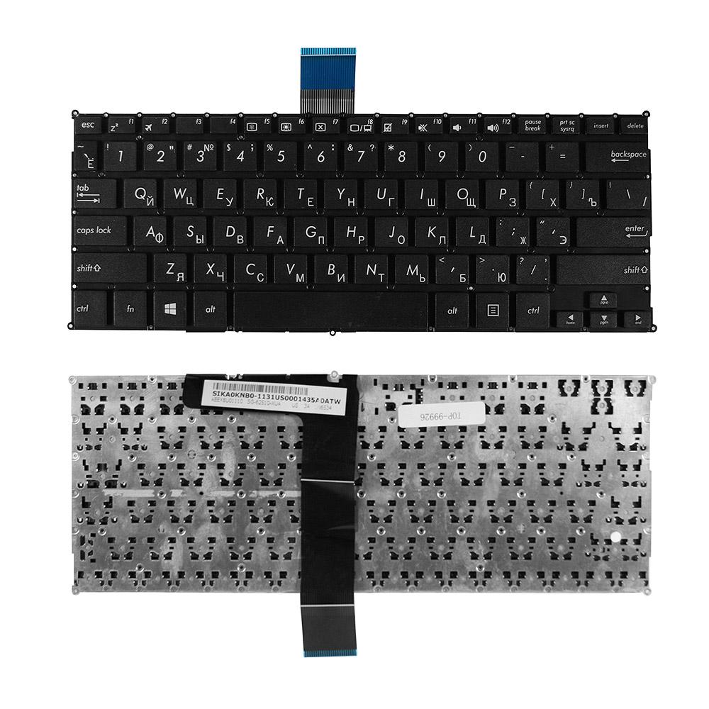 Клавиатура для ноутбука Asus X200CA, X200, X200L, X200LA, X200M, X200MA Series. Плоский Enter. Черная, без рамки. PN: 0KNB0-1123RU00, 13NB03U2AP0402.