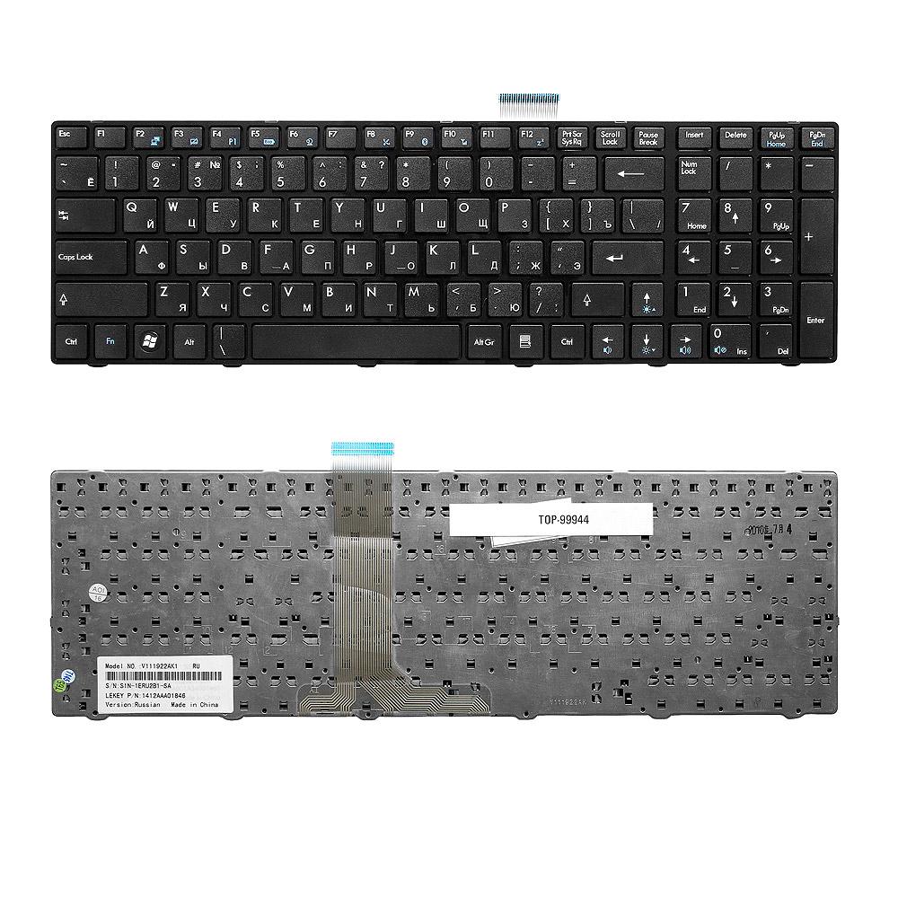 Клавиатура для ноутбука MSI A6200, A6500, CR630, CR650, MS168, S6000 Series. Плоский Enter. Черная, с черной рамкой. PN: V111922BK1 S1N-3ERU211-SA0.